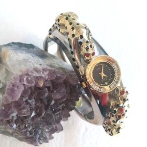 Unique panther watch gold/silver tone w/crystal